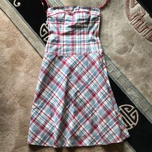 Duck Head Jeans strapless plaid fit& flare dress